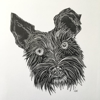 linocut print commission dog